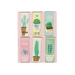 mini metal magnets UK - Green Cactus Magnet Bookmark Small Fresh Plant Modeling Cute Desk Accessories Pink Green Blue Mini Page Folder