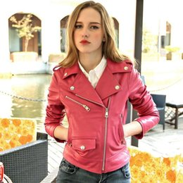 $enCountryForm.capitalKeyWord Australia - Genuine Leather Jacket Women Real Sheepskin Black Pink Slim Fit Fashion Leather Short Jackets Coats Ladies Spring Autumn Winter