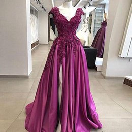 Yellow lace cap sleeves backless online shopping - Grape Side Slit Prom Dresses New V neck Cap Short Sleeves lace Applique Beaded Sequins Satin Aline Evening Formal pageant Dress