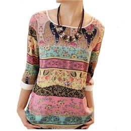 $enCountryForm.capitalKeyWord UK - Fashion-plus Size Xxl T-shirt For Women Nice Summer Chiffon Printed Lace Ladies Tee Tops Three Quarter Puff Sleeve Loose Tunic T Shirts