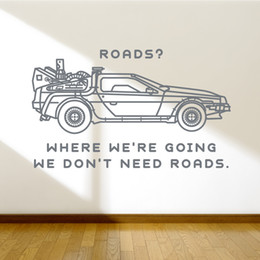 Discount cars decor for kids room - Car Quote Wall Decals Removable Sticker Living Room Wall Decor Back to the Future Wall Stickers Bedroom Kids Room Decal