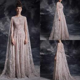 $enCountryForm.capitalKeyWord UK - Krikor Jabotian 2020 Prom Dresses With Cape Sequine Beads Lace Dubai Arabic V Neck Celebrity Long Sleeve Evening Gowns Formal Pageant Dress