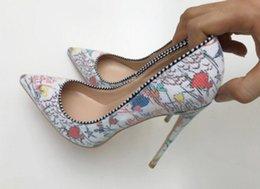 $enCountryForm.capitalKeyWord Australia - new type printing Women's Red bottom High heel shoes 8cm 12cm 10cm large size 44 Cusp Fine heel Single shoes Nightclub wedding bride dance