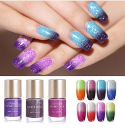 Nail polishes chaNge color online shopping - Hot ml Thermal Nail Polish Glitter Temperature Color Changing Water based Manicure Varnish Shinny Shimmer Nail Lacquer