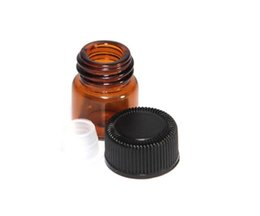 Wholesale 1ml ml ml Amber Glass Essential Oil Bottle perfume sample tubes Bottle with Plug and caps Dispensing glass bottles