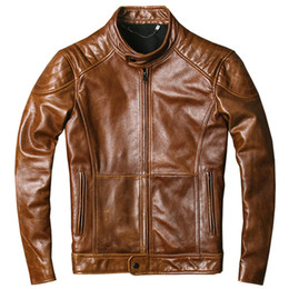 $enCountryForm.capitalKeyWord Australia - American retro motorcycle leather jackets oil wax the layer of genuine cowhide leather men's slim locomotive suit