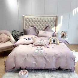 $enCountryForm.capitalKeyWord Australia - Fashion Kids Bedd Style satin cotton Print King Queen Unicorn Bedding Set Duvet Cover Pillowcases  bed sheet