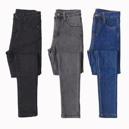 Wholesale pants russia resale online - ship from Russia Plus Plus size women high waist jeans Big size full length fashion skinny pencil Stretch denim pants jeans