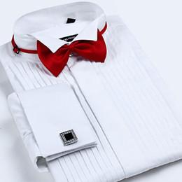 Bridegroom Wedding Shirt Australia - Men's French Cuff Tuxedo Solid Color Wing Tip Collar Men Long Sleeve Dress Shirts Formal Wedding Bridegroom Shirt Q190514