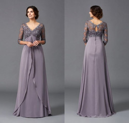 $enCountryForm.capitalKeyWord Australia - Elegant A Line V Neck Floor Length Chiffon Mother Of The Bridal Dresses With 3 4 Sleeve Lace Top Long Evening Women Gowns
