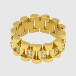 $enCountryForm.capitalKeyWord Australia - Hip Hop Gold and Silver Stainless Steel CZ Cubic Zirconia Chain Band Ring Hollowed Finger Ring Rapper Lovers Jewelry Gifts for Men and Women