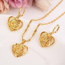 AfricAn dubAi 18k gold plAted set online shopping - 18 k Fine Solid Gold GF Outline border heart flower Europe women Jewelry Sets bridals Wedding jewelry Gift Dubai pendnat earring