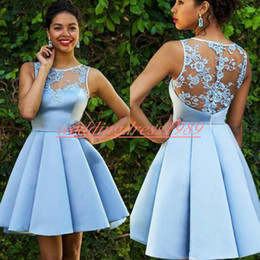 CoCktail dress pink silver online shopping - Fashion Sheer Lace Homecoming Dresses Sky Blue Crew Neck Knee Length Satin Cheap A Line Short Prom Dress Juniors Cocktail Party Club Wear