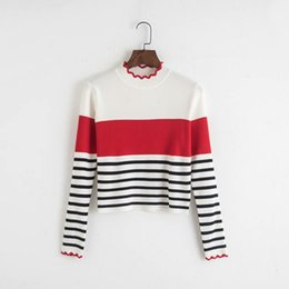 $enCountryForm.capitalKeyWord Australia - Striped Pattern Patchwork Knitted Women Kawaii Sweater Long Sleeve Ruffled Short Stretchy Pullovers Fashion Chic Tops Feminine