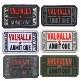 $enCountryForm.capitalKeyWord Australia - Hunting accessories VALHALLA ADMIT ONE 3D PVC Patch Rubber Patches Tactical Armband badge applique For Clothing hat bag