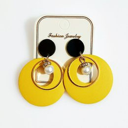 Exaggerated European and American sweet series fashion earrings temperament wood earrings pattern stitching