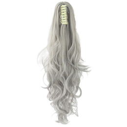 Long cLaw ponytaiL online shopping - 24inch Long Gray Blonde Wavy Clip on Hairpiece Extensions Pony Tail High Temperature Fiber Synthetic Hair Claw Ponytails