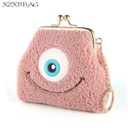 big money bag 2019 - XZXBBAG Women Cute Big Eyes Mini Plush Coin Purses Female Hasp Small Wallet Girls Change Purse Money Bags Students Zero