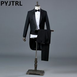$enCountryForm.capitalKeyWord Australia - Pyjtrl England Gentleman Two-piece Black White Groom Cheap Wedding Tuxedos Suits For Men Classic Tail Coat With Pants Slim Fit