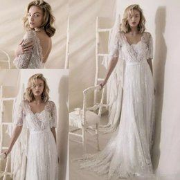 Cheap Lace Nude White Dress Australia - 2019 Boo 1950s' Style Wedding Dresses White Lace Wra Sexy V Neck Low Backless Bohemian Country Wedding Gowns Sweep Train Cheap