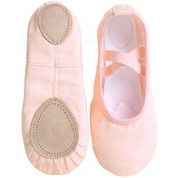 Großhandel New Design Kindertanzschuhe Erwachsene Professionelle Leinwand weiche Sohle Ballettschuh-Mädchen-Damen Kinder Ballett-Pantoffel