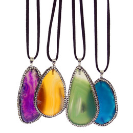 $enCountryForm.capitalKeyWord NZ - 2019 Fashion agate piece jewelry natural irregular package edge set auger agate slices pendant necklace wholesale