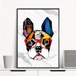 Modern Art Canvas Print Australia - Modern Handpainted & HD Print Abstract Marble Bulldog Animal Art Oil Painting On Canvas Wall Art Home Decor High Quality A72