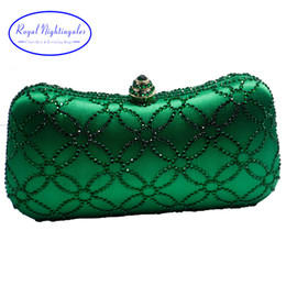 $enCountryForm.capitalKeyWord NZ - Flower Emerald Dark Green Rhinestone Crystal Clutch Evening Bags For Womens Party Wedding Bridal Crystal Handbag And Box Clutch Y190627