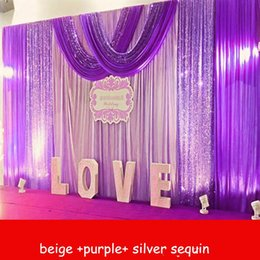 swag curtain purple Australia - Unicorn party decortions 3Mx6M Wedding Backdrop curtains with Silver Purple Sequins swag Celebration Stage Performance Background props