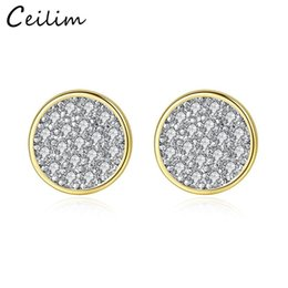gold discs NZ - New Fashion Tiny Zircon Stud Earrings Silver Gold Colors Mini Disc Round CZ Zircon Stud Earrings For Women Minimalist Design Party Jewelry