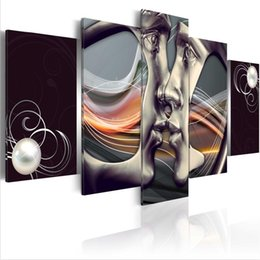 Kiss Picture Painted Australia - ( No Frame)5PCS Set Modern Abstract Platinum Kiss Art Print Frameless Canvas Painting Wall Picture Home Decoration