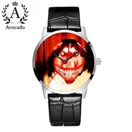 Herrenuhren Smile Dog Quartz Armbanduhren Black Leather Strap Horror Animal Halloween