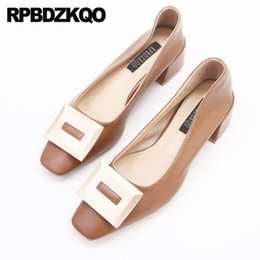 $enCountryForm.capitalKeyWord Australia - Slip On Beige Block Fashion Thick Square Toe Elegant Women Shoes 2019 Medium Heels Cheap Korean Pumps Brown Modern Metal High