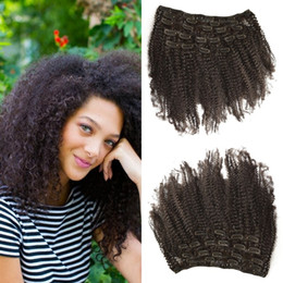 clip extensions for black women 2019 - 7pcs set 4a,4b 120g Afro Kinky Curly Clip In Extensions Natural Black For Women In Stock No Tangle No Shedding LaurieJ H