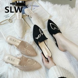 heart mouth 2019 - heart shaped embroide slip on lazy shoes 2019 spring summer all-match mule slide female low heel shallow mouth slippers
