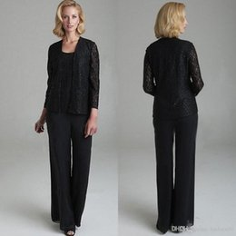 a756483f7d0 Elegant Black Lace Mother Of The Bride Pant Suits With Jackets Three Pieces  Sequined Wedding Guest Dresses Plus Size Mothers Groom Dress