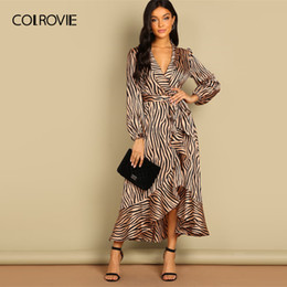 $enCountryForm.capitalKeyWord Canada - Colrovie Shawl Collar V-neck Surplice Wrap Belted Zebra Party Dress Women 2019 Ruffle Long Dress Elegant Office Ladies Dresses Y19053001