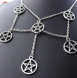 Necklaces Pendants Australia - Religious Pentagram Necklace Pendants Magic Wizard Pagan Choker Collar Statement Necklaces For Women Jewelry Best Friends Gifts Personality