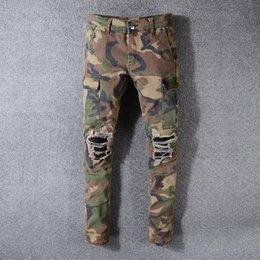 Green biG pocket pants online shopping - New Mens Jeans Fashion Camouflage Casual Pants Mens High Quality Big Pocket Pants Designer Denim trousers