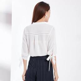 Korean Shirt Dress UK - Korean version of spring dress in 2019 has a loose seven-sleeve V-collar and fashionable temperament. Westernized Chiffon shirts are