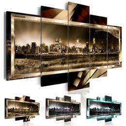 York Canvas Prints Australia - 5 Pcs set Canvas Print (No Frame) Abstract New York City Landscape Night View Wall Decoration Canvas Painting for Living Room Gifts for Frie