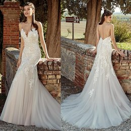 Discount country chic dresses - Eddy K 2019 Country Mermaid Wedding Dresses Spaghetti Lace Backless Sweep Train Bridal Gowns Plus Size Beach Boho Chic r