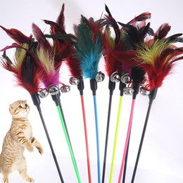 Discount toys made sticks - 1PCS Hot Sale Cat Toys Make A Cat Stick Feather With Small Bell Natural Like Birds Random Color Black Coloured Pole