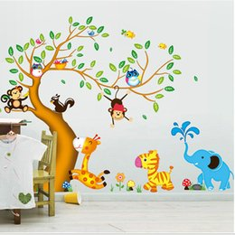 Cartoon Nature Australia - Cartoon animal tree double fight removable wall sticker PVC transparent film wall sticker waterproof wall sticker