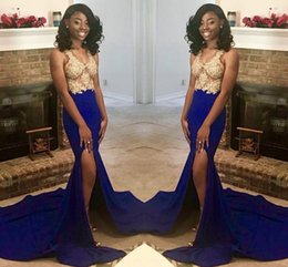 See through dreSS girlS pictureS online shopping - 2k19 African Girls Royal Blue With Gold Applique Mermaid Prom Dresses Split Evening Gowns With See Through Top Vestidos V Neck