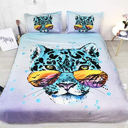 queen size leopard bedding sets Canada - Purple Green Blue Bedding Leopard Duvet Cover Queen Full Leopard Comforter Cover Leopard Print Bedspread King Size queen comforter cover set