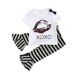 $enCountryForm.capitalKeyWord Australia - Summer 2019 New Foreign Trade Children's Wear Baby and Young Children's Lip Printed Short Sleeve Striped Bell Trousers Suit for European and