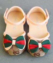 Baby Girl Summer Canvas Shoes Australia - children's &#71ucci sandals Summer girl baby canvas shoes First Walkers Kids Princess bow sandals shoes