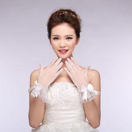 White Wedding Dresses Gloves Australia - Gloves wholesale bridal wedding dresses all fingers on satin stitch beads white gloves