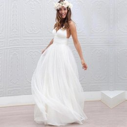 Petite Wedding Gown Pink Australia - 2019 NEW Cheap Summer Beach Bohemian Sexy Wedding Dresses A Line V Neck Tulle Sweep Train Plus Size Backless Formal Bridal Gowns